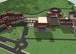 东南亚风格度假山庄酒店建筑设计SU(草图大师)模型