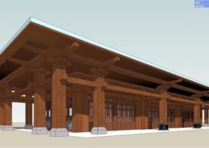 休闲中式单层茶室建筑SU(草图大师)模型
