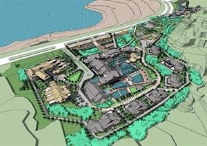某海滨旅游度假中心建筑设计SU(草图大师)模型