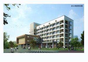 现代风格医院建筑设计SU(草图大师)模型及效果图