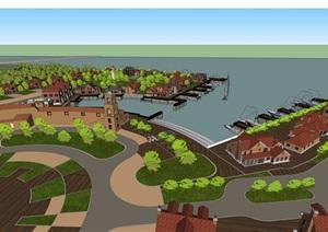 欧式风格渔人码头建筑素材设计SU(草图大师)模型