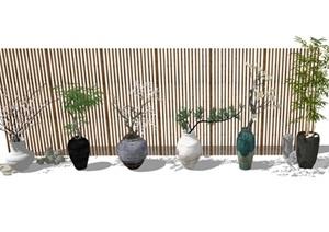 景观盆栽 景观小品 室内盆栽 植物 陶罐 隔断石头组合SU(草图大师)模型