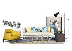 现代简约沙发茶几组合SU(草图大师)模型