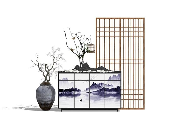 新中式玄關隔斷屏風陶罐盆栽組合su模型(1)