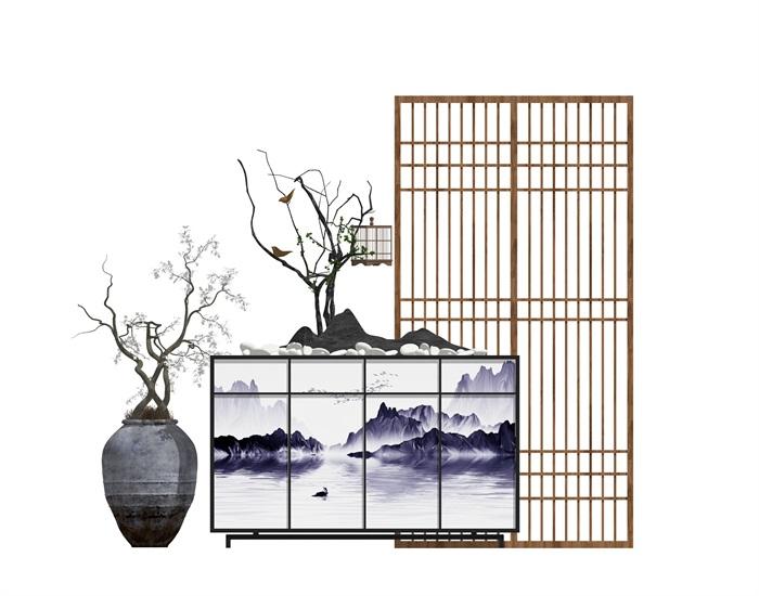 新中式玄關隔斷屏風陶罐盆栽組合su模型(2)