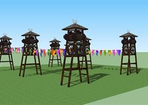 蒙古文化元素木质装饰塔SU(草图大师)模型