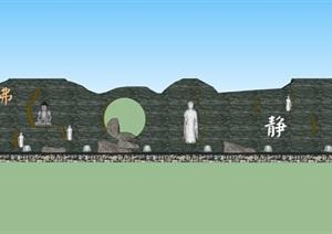 禅意室外景观墙SU(草图大师)模型