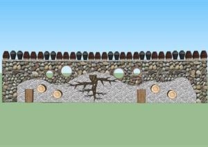 农村创意景墙设计SU(草图大师)模型