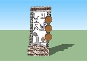 美丽乡村入口创意标识设计SU(草图大师)模型