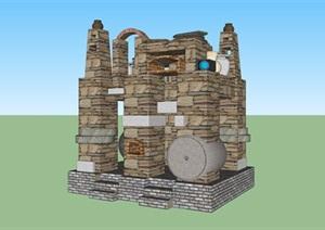 石头堆砌创意景观SU(草图大师)模型