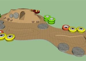 农村沙土堆儿童游乐园SU(草图大师)模型