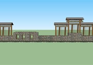 创意景观围墙设计SU(草图大师)模型