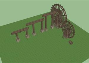 古代水车模拟景观SU(草图大师)模型