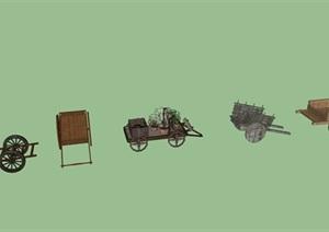 农村木质废旧马车组合SU(草图大师)模型