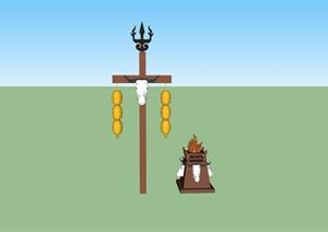 蒙古元素木质装饰塔SU(草图大师)模型