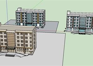 多个办公楼详细建筑设计SU(草图大师)模型