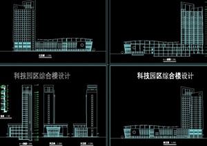 科技园综合楼设计cad立剖面图