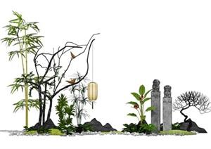 新中式景观小品 植物片石 栓马柱SU(草图大师)模型