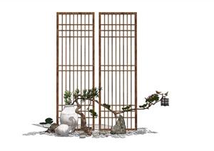 新中式 禅意景观小品 屏风隔断 枯枝组合SU(草图大师)模型