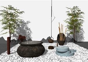 新中式石磨流水景观小品SU(草图大师)模型