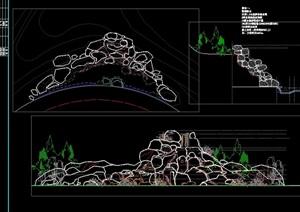 详细的园林景观节点假山石头cad方案图