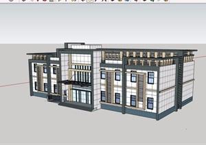 两层详细的完整办公楼建筑SU(草图大师)模型