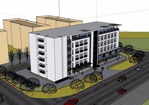 七层详细的办公楼设计SU(草图大师)模型