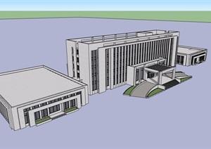 现代风格五层办公楼建筑素材SU(草图大师)模型