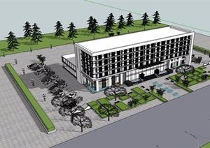办公楼详细多层办公建筑设计SU(草图大师)模型