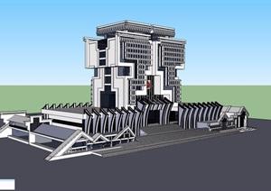 某详细的政府独特办公楼设计SU(草图大师)模型