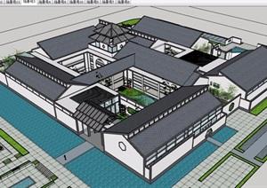 中式风格详细的历史文化博物馆建筑设计SU(草图大师)模型