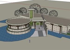 现代单层地质公园博物馆设计SU(草图大师)模型