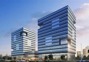 现代独特详细的办公楼建筑SU(草图大师)模型及效果图