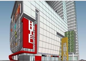 某现代风格商业办公大厦详细建筑SU(草图大师)模型