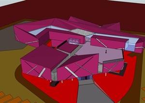 详细的完整博物馆设计SU(草图大师)模型