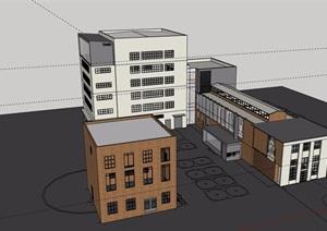 现代详细多层博物馆展览建筑SU(草图大师)模型