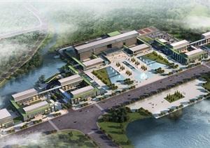 一个行政办公中心建筑设计SU(草图大师)模型及效果图
