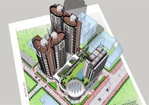 某详细的底商住宅建筑楼设计SU(草图大师)模型