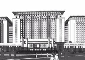 某军区办公楼建筑设计SU(草图大师)模型