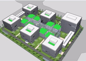协作中心办公多层详细建筑设计SU(草图大师)模型