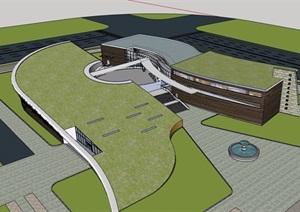 整体详细的文化展览馆设计SU(草图大师)模型