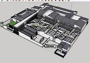 中式详细的多栋文化展览建筑设计SU(草图大师)模型
