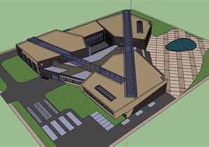 某详细的文化中心建筑设计SU(草图大师)模型