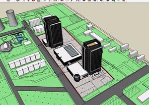 办公商业区综合建筑SU(草图大师)模型