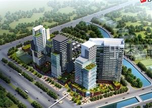 某详细的商业办公楼公寓综合楼SU(草图大师)模型