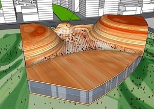 现代风格两层地质博物馆建筑设计SU(草图大师)模型