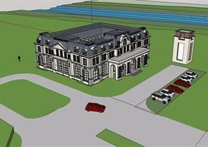 两层美式风格售楼处建筑设计SU(草图大师)模型
