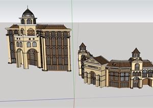 欧式详细的完整多层酒店设计SU(草图大师)模型