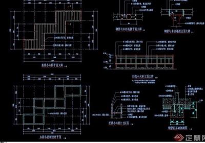 園林景觀詳細的節點小橋設計cad施工圖