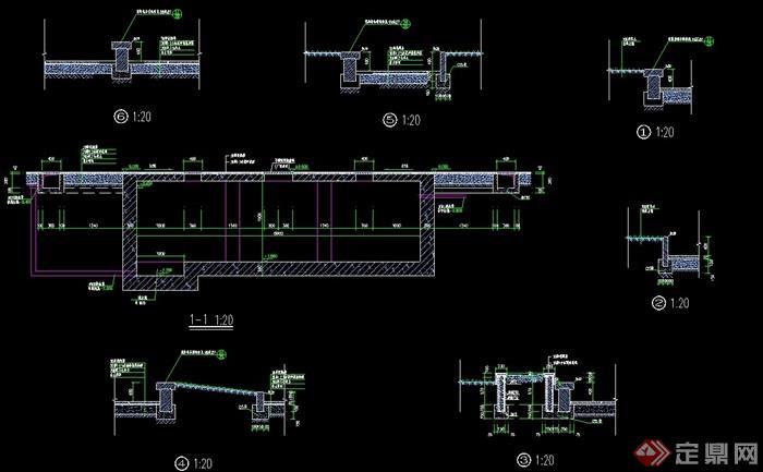 某詳細的完整高層旱水噴泉素材cad施工圖